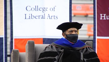 Harold Franklin attends the fall 2020 graduation to officially receive his master's degree in history from Auburn University